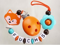 "Schnullerkette mit Namen ""Fuchs+Blume-orange"""